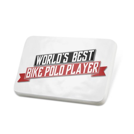 Porcelein Pin Worlds Best Bike Polo Player Lapel Badge – (Best Starter Bicycle For A Woman)