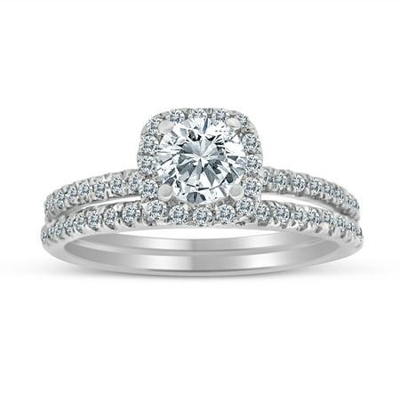 - 1.00ctw Diamond Halo Bridal Set Engagement Ring in 10k  White Gold