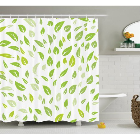 Leaves decor shower curtain set various green spring for Spring bathroom decor