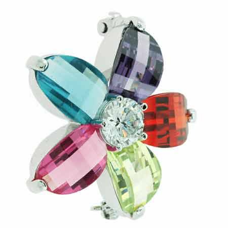 Sterling Silver Multi Color red, light green, Magenta, Simulated Aquamarine and Amethyst Cubic Zirconia Flower Pin by SilverSpeck
