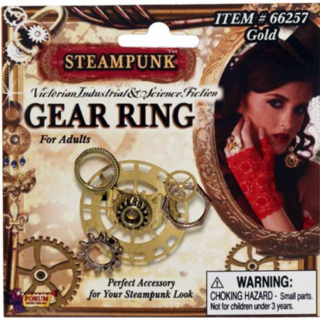 Deluxe Steampunk Cowboy Costume Brass Gear Ring