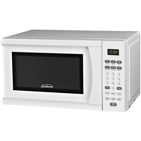 Sunbeam 0.7-Cubic Foot Microwave Oven Sunbeam 0.7-Cubic Foot Microwave Oven:10 adjustable power levels6 auto cooking/1-touch menu optionsExpress cooking and weight defrostDigital timer and digital clock700 watts of cooking powerRemovable glass turntable1-year warrantyDimensions: 17.79 L x 12.99 W x 10.31 H