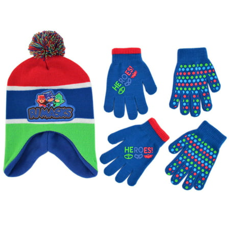 PJ Masks Hat and 2 Pair Mittens or Gloves Cold Weather Set, Little Boys, Age