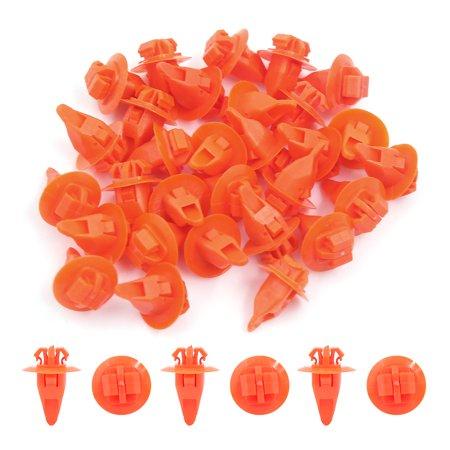 30Pcs Rivet plastique orange Clips fixation pare-chocs 8 x10mm - image 1 de 2