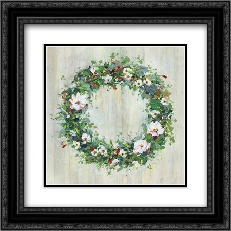 Woodgrain Wreath 2x Matted 20x20 Black Ornate Framed Art Print by Swatland, - Black Wreath