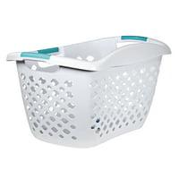 Home Logic Large 1.8 Bu HIP GRIP Laundry Basket, White & Teal