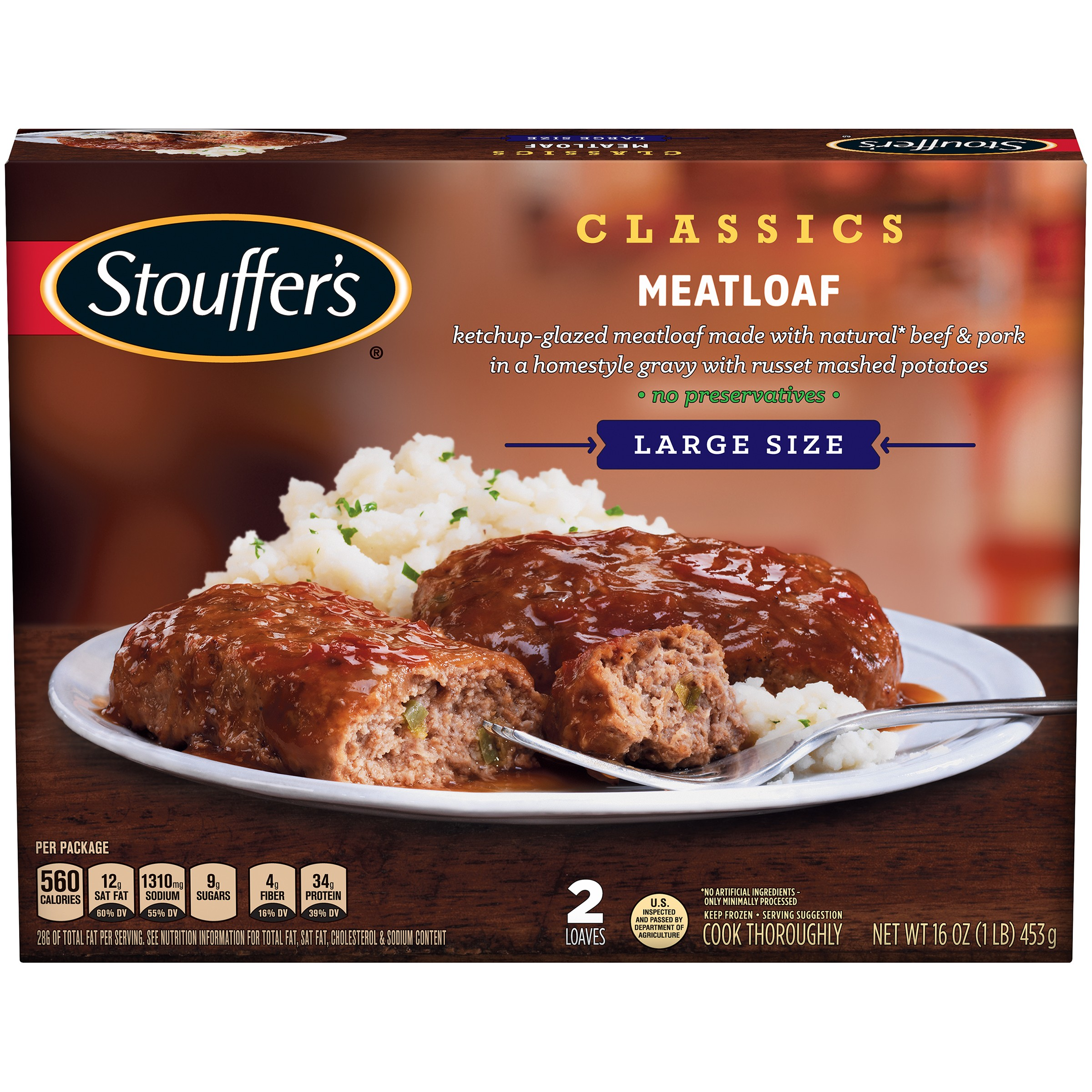 STOUFFER'S Satisfying Servings Meatloaf 16 oz Box
