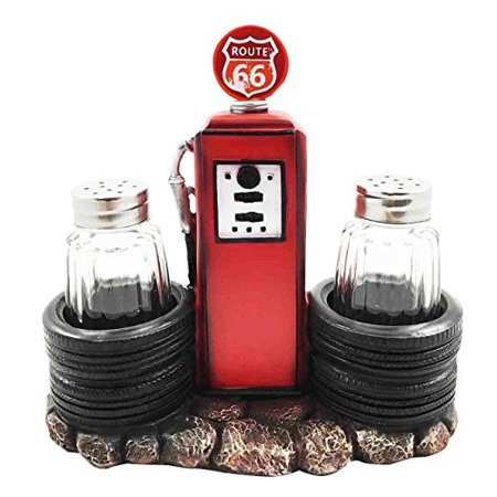 Route 66 Old Fashioned Gas Pump Station Salt Pepper Shaker Holder Figurine Cross Country Road Trip