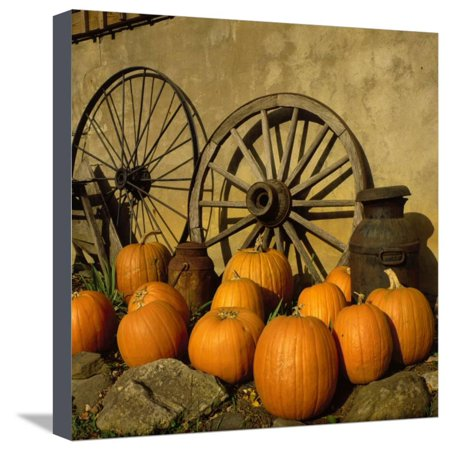 Pumpkins, Wagon Wheels and Milk Can, Todd, NC Stretched Canvas Print Wall Art By Tom Dietrich