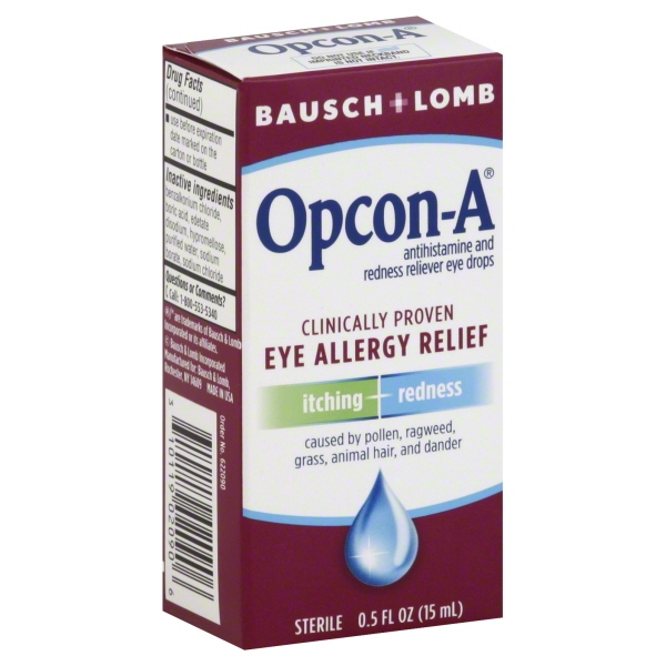 Bausch & Lomb Opcon-A Sterile Antihistamine and Redness Reliever Eye Drops, 0.5 fl oz