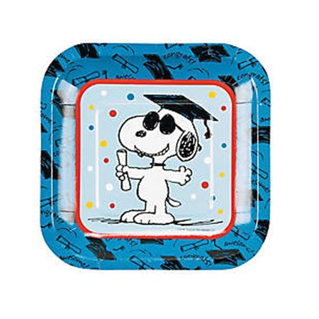 Peanuts Snoopy Graduation Small Paper Plates (8ct) - Snoopy Party Ideas
