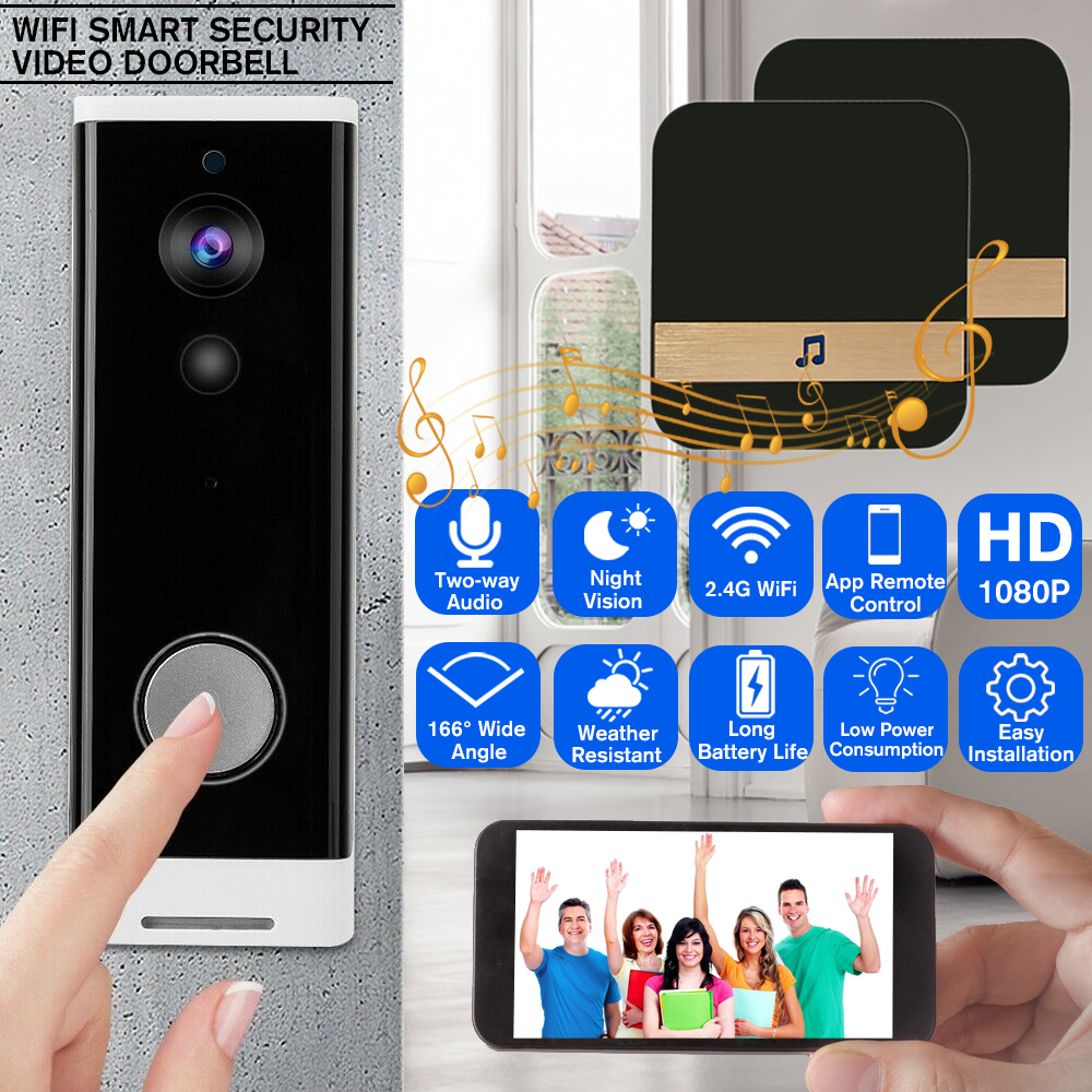 Smart HD Doorbell Visual Camera Home Security PIR Motion Detection+Dingdong+16GB