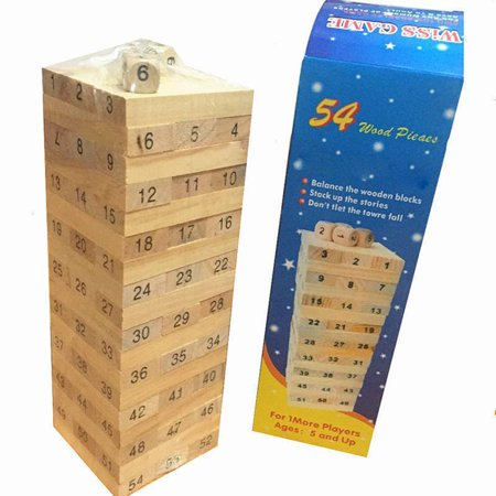 48PCS/Set Wooden Column Building Blocks Game Children Education Toy Number DIY Bricks Toys Baby Wood Blocks Toy Gift - image 4 de 6