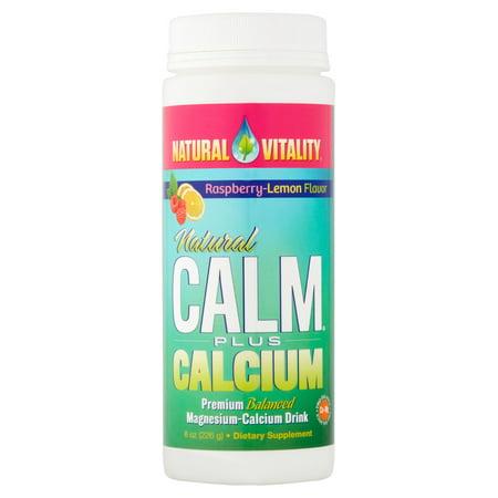Natural Vitality Raspberry Lemon Flavor Natural Calm Plus Calcium Dietary Supplement  8 Oz