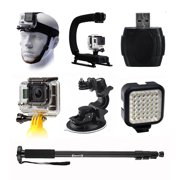 Helmet Strap Mount + Stabilization Handle + Selfie Stick for GoPro HERO4 Hero 4