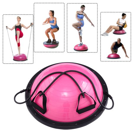 Costway 23 Yoga Ball Balance Trainer Yoga Fitness Strength Exercise Workout W Pump Rose