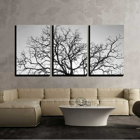 Wall26 3 Piece Canvas Wall Art Dead Tree Branch Black And White