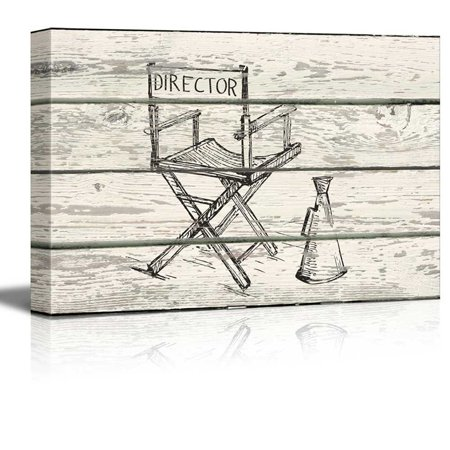 wall26 - Directors Chair and Megaphone Sketch Artwork - Rustic Canvas Wall Art Home Decor - 32x48 - Movie Director Megaphone
