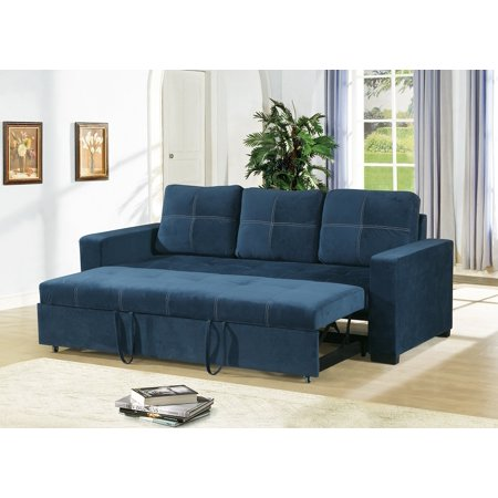 Modern Convertible Sofa Navy Linen Like Fabric Square Shape Stitching Sofa w Pull Out Bed Comfort