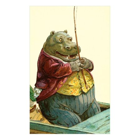 Hippo in Three-Piece Suit Fishing Print Wall Art - Walmart.com