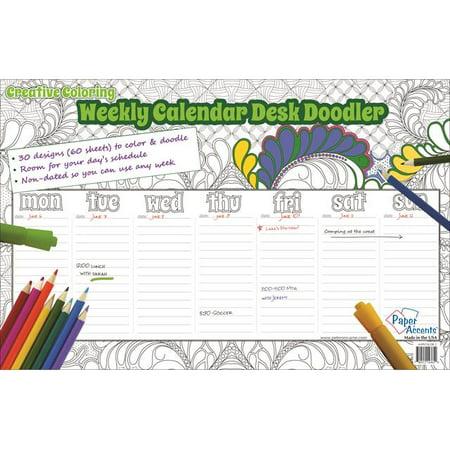 creative coloring weekly desk calendar 11x17 60sht walmart com