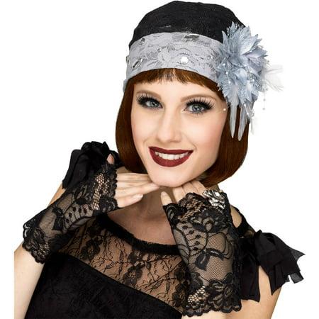 Gray Flapper Cloche Gloves Adult Halloween Accessory](Son Cloche Halloween)