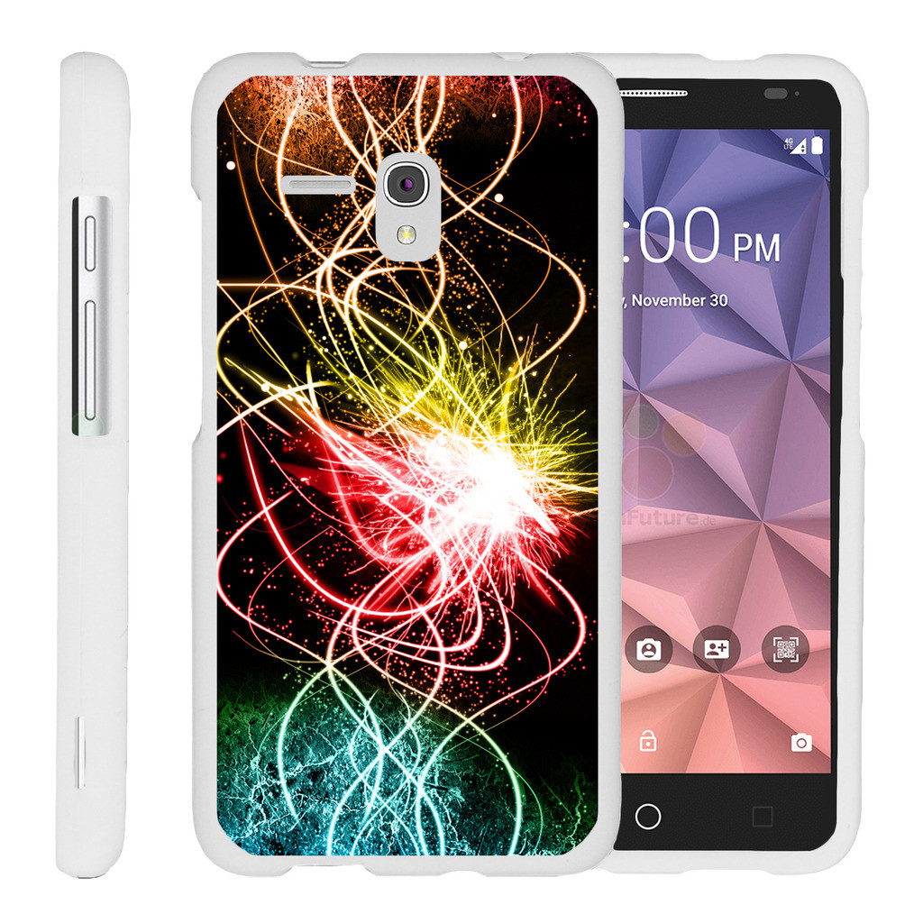 Alcatel One Touch Fierce XL 5054N, [SNAP SHELL][White] Hard White Plastic Case with Non Slip Matte Coating with Custom Designs - Colorful Light Show