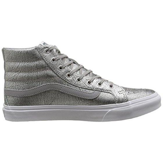 03bd366cab Vans - Vans Sk8-Hi Slim Foil Metallic Silver   True White High-Top  Skateboarding Shoe - 8M 6.5M - Walmart.com