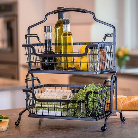 Two Tier Brushed Wrought Iron Basket With Arched Handle