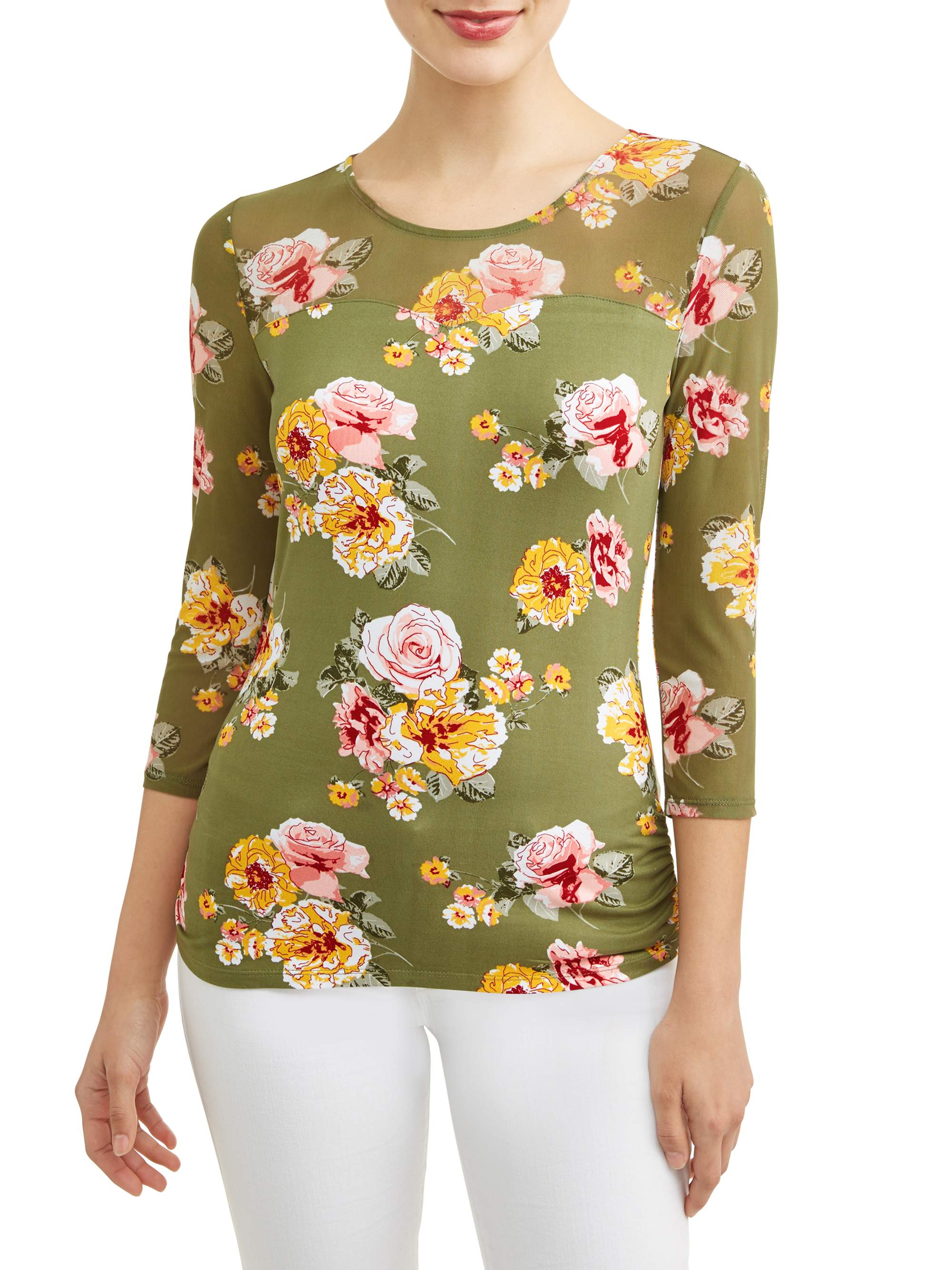 Juniors' Floral Printed Criss Cross Caged Back 3/4 Sleeve T-Shirt