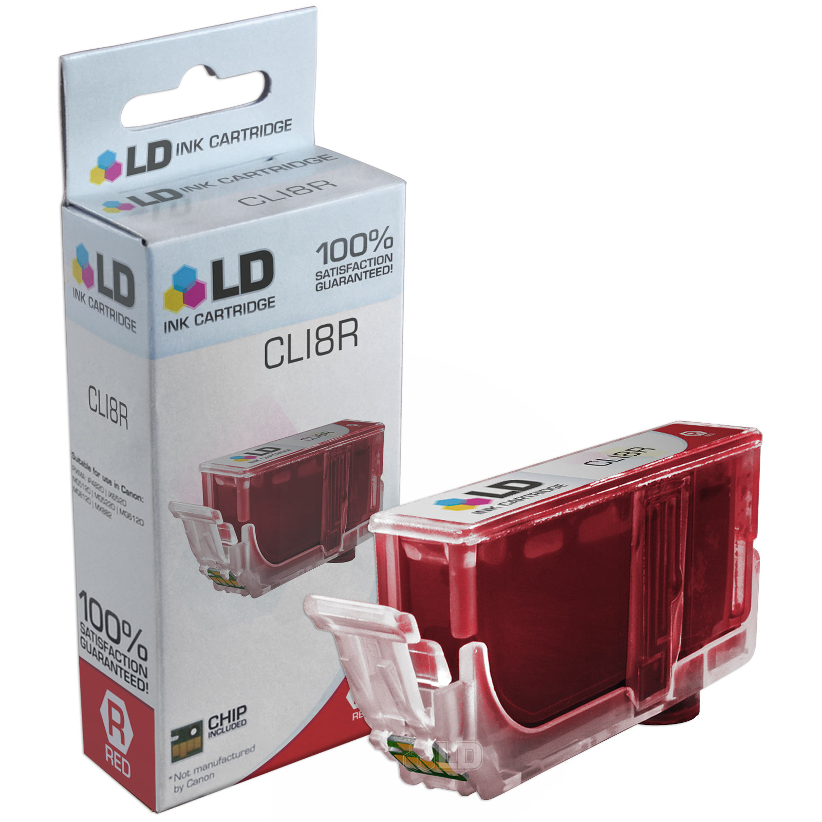 LD Compatible Replacement for Canon CLI8R Ink Cartridge Includes: 1 Red 0626B002