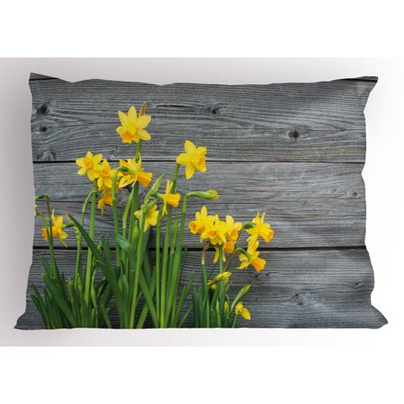 Yellow Flower Pillow Sham Bouquet of Daffodils on Wood Planks Gardening Rustic Country Life Theme, Decorative Standard Size Printed Pillowcase, 26 X 20 Inches, Yellow Grey, by Ambesonne](Rustic Bouquet)