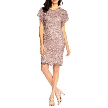 Beaded Flutter-Sleeve Cocktail Dress