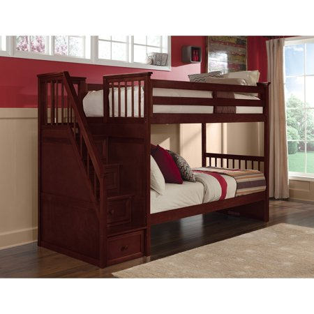 School Stair Bunk Trundle Cherry