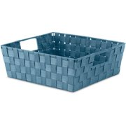 Whitmor Woven Strap Shelf Storage Tote Berry Blue