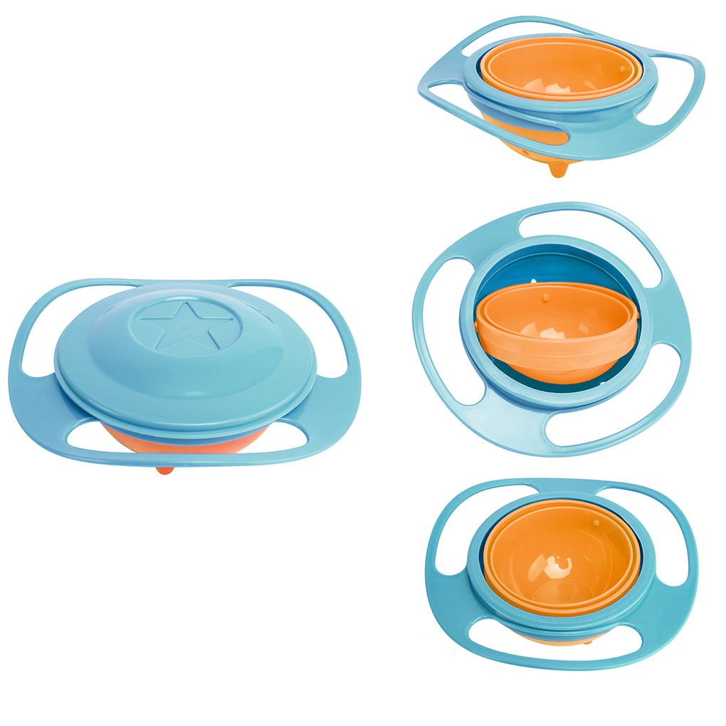 Anti Spill Bowl Smooth 360 Degrees Rotation Gyroscopic Bowl for Baby Kids