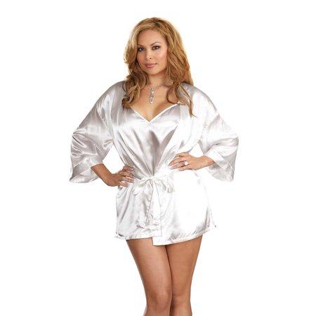 - Plus Size Lingerie Sexy Charmeuse Satin Robe Set