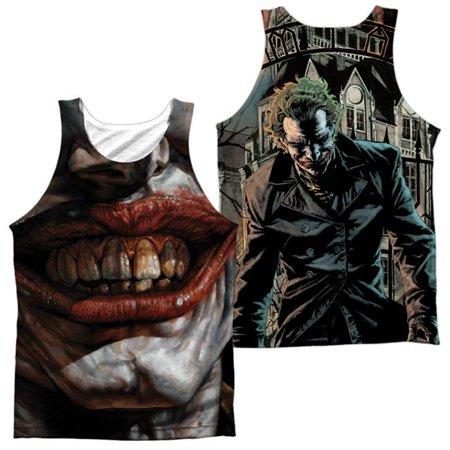 Batman Asylum Front & Back Print-Adult 100 Percent Poly Tank Top T-Shirt, White - Medium (100 Dollar Bill Front And Back)