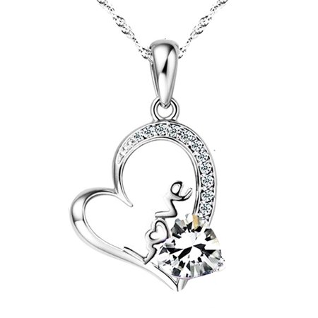 Emma manor 14k white gold plated forever lover heart pendant emma manor 14k white gold plated forever lover heart pendant necklace for women mozeypictures Images