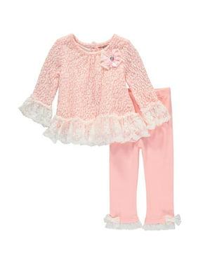 4c5815ec61 Product Image Little Lass Baby Girls 0-9 Months Lacey Bows Pant Set (Light  Pink 3