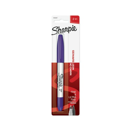 (4 Pack) Sharpie Twin Tip Permanent Marker, Fine and Ultra Fine, Purple, 1 Count (Atomic Twin Tip)