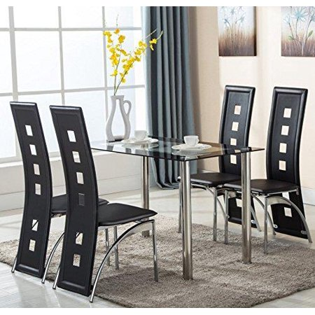 Ktaxon 5 Piece Glass Dining Table Set With 4 Faux Leather Chairs Dining Furniture Black ()
