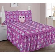 5 PIECE FULL OWL Double Ruffle Kids Comforter Bedding Set With Fitted Sheet And Furry Friend