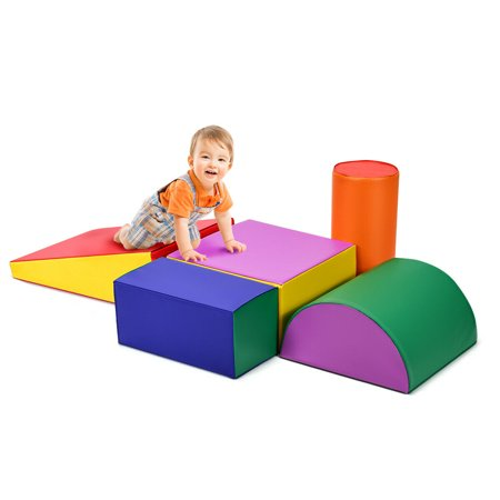 Gymax Crawl Climb Foam Shapes Playset Softzone Toy Toddler Preschoolers Kids (Children Shapes)