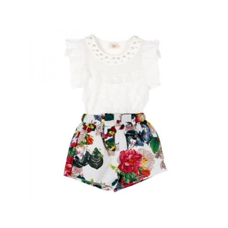 Cute Baby Girls Breathable Mesh Fly Sleeve Tops+Floral Skirt Outfits Set](Diy Cute Outfits)