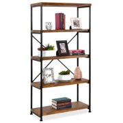 Best Choice Products 5-Tier Rustic Industrial Bookshelf Display Decor Accent w/ Metal Frame, Wood Shelves - Brown