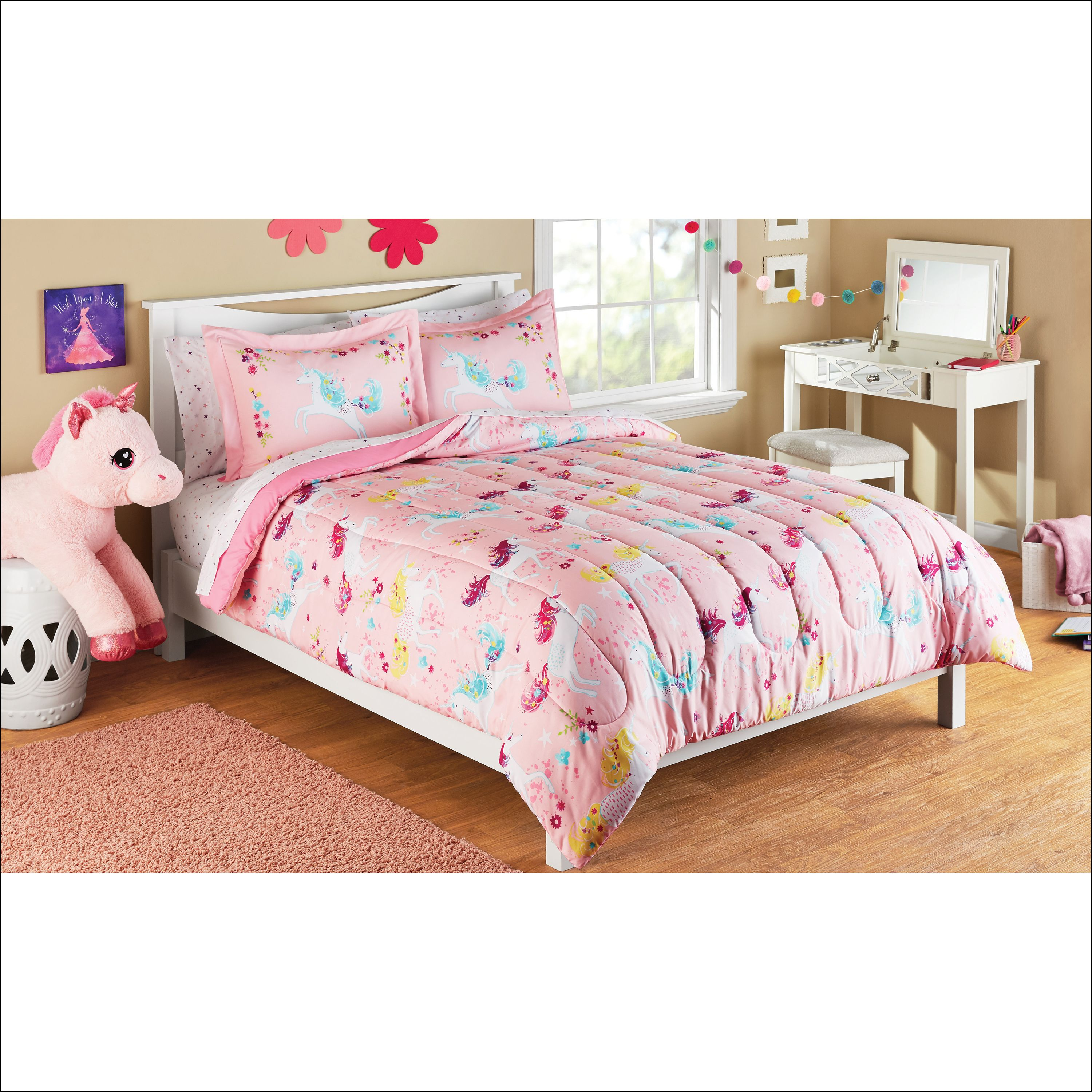 Mainstays Kids Microfiber Full Unicorn Microfiber Bed in a ...