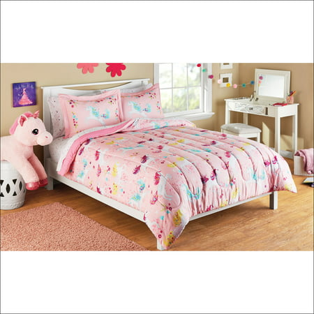 Mainstays Kids Microfiber Full Unicorn Microfiber Bed In A