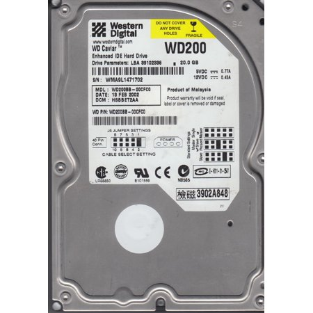 WD200BB-00CFC0, DCM HSBBET2AA, Western Digital 20GB IDE 3.5 Hard Drive