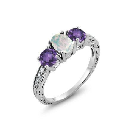 1.65 Ct Oval White Simulated Opal Purple Amethyst 925 Sterling Silver Ring